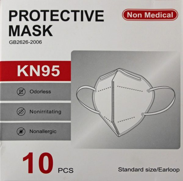 KN95 Face Mask Front panel of 10pc Box showing oderless, nonirritating, nonallergic, non medical